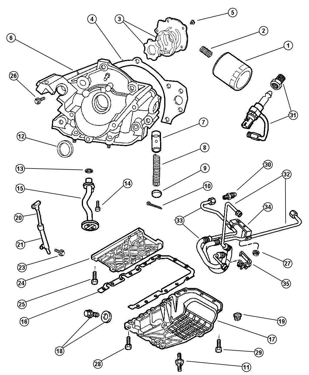 Dodge Ram 2500 Spring  Oil Pressure Relief Valve  Oil Pump