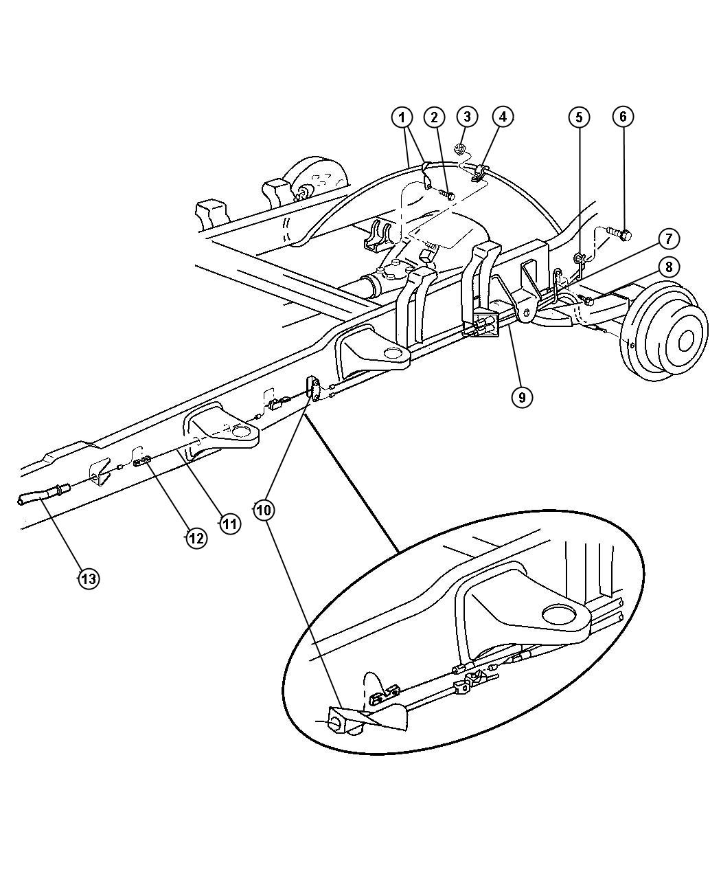 Dodge Ram 3500 Tensioner  Parking Brake Cable