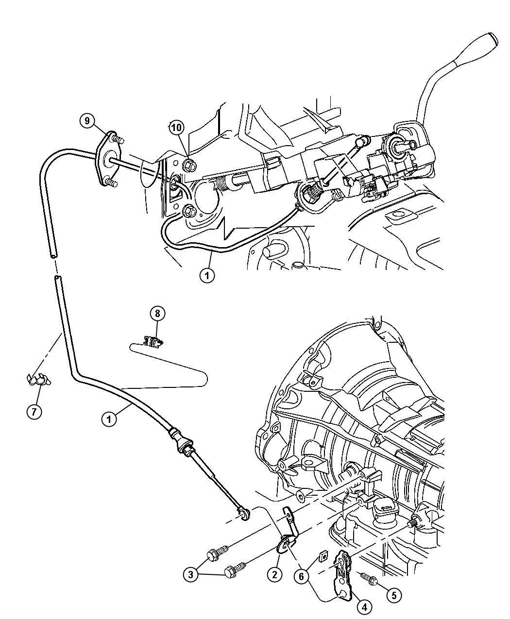Dodge Dakota Cable  Shift  Transmission  Gearshift  Controls