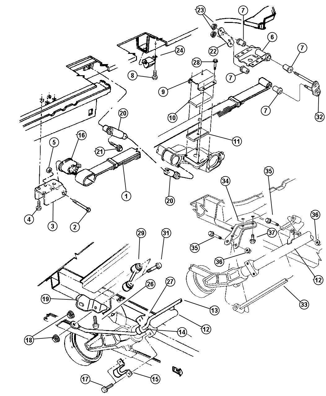 04743630ab dodge axle rear suspension sda sdb for Suspension sdb
