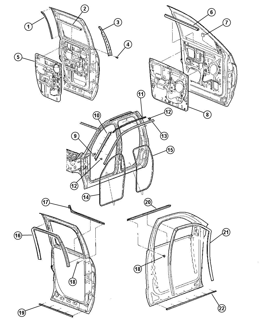 Dodge Ram 1500 Seal. Glass run. Front. Left. Weatherstrips ...