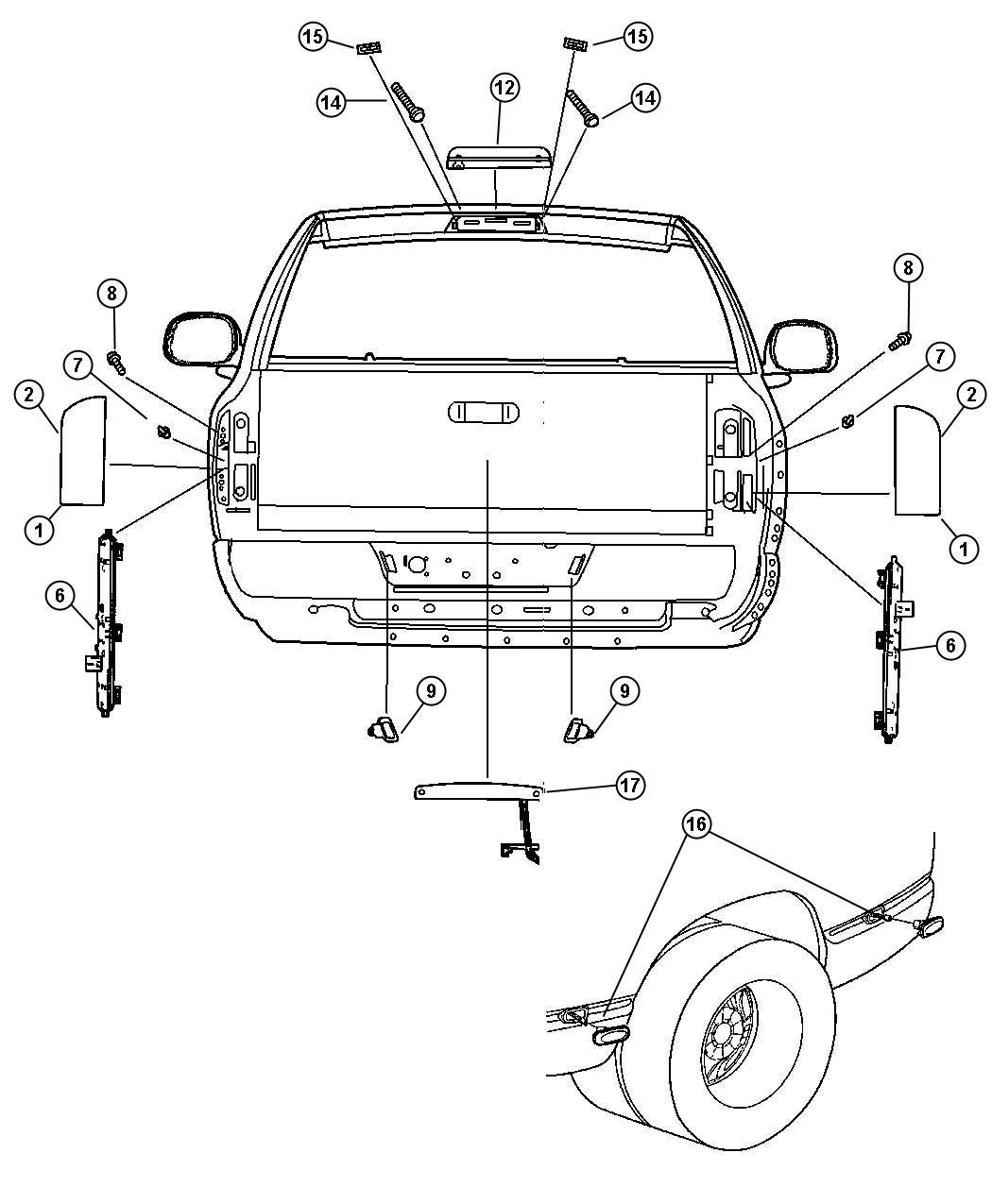 2003 Dodge Ram 3500 Lamp  License Plate  Left  Rear