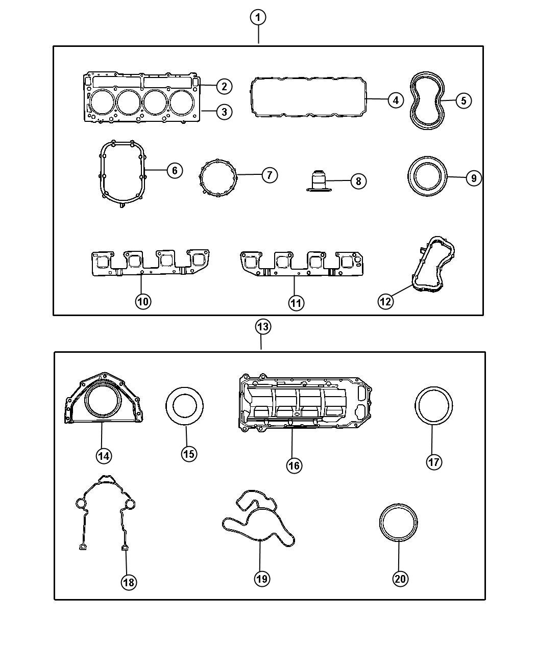 Dodge Ram 1500 Gasket Kit  Gasket Package  Engine  Engine Lower  Packages  Block  Cylinder