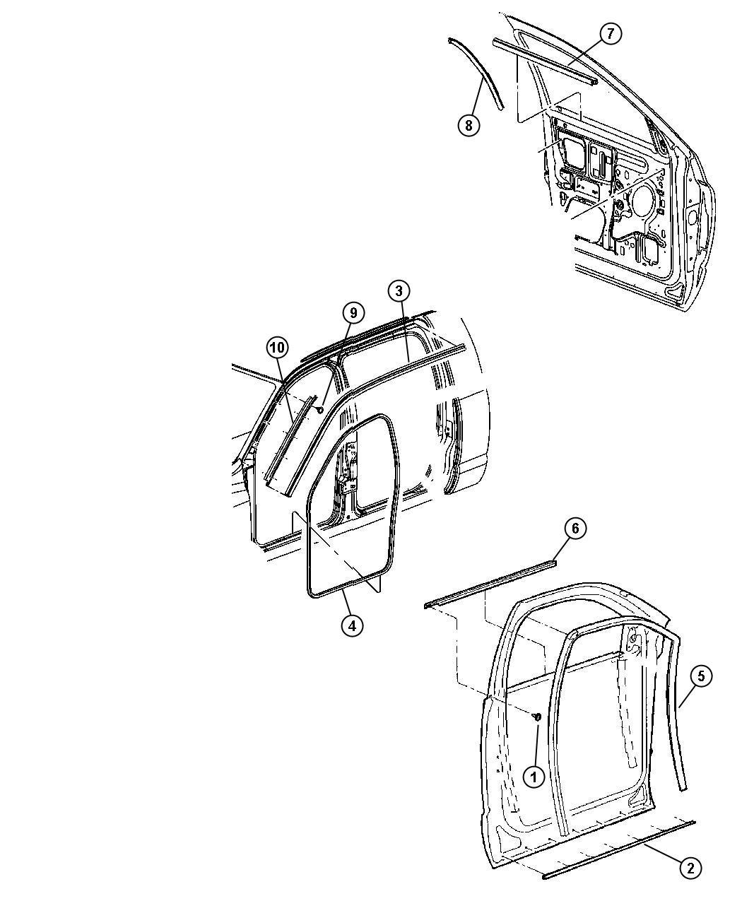 Dodge Ram 1500 Weatherstrip  Door Belt  Left