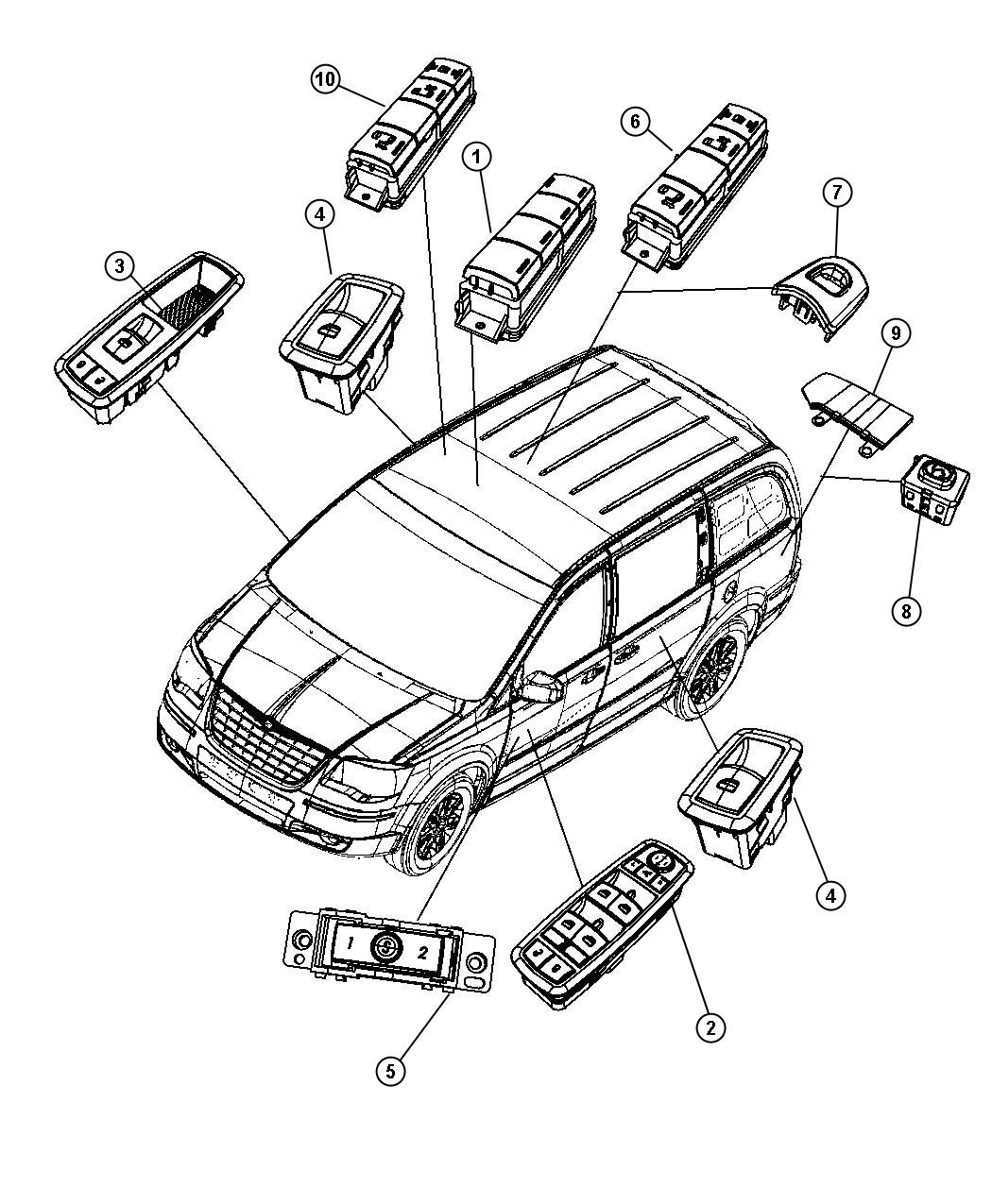 2010 Dodge Grand Caravan Switch  Power Window  Driver Side