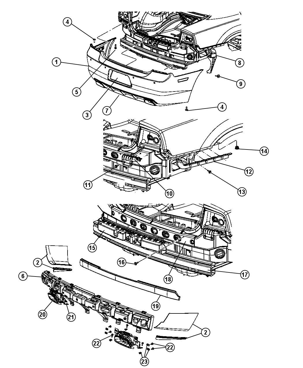 2013 dodge valance  rear  body  color  fascias